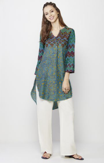 Global Desi | Green Printed Tunic