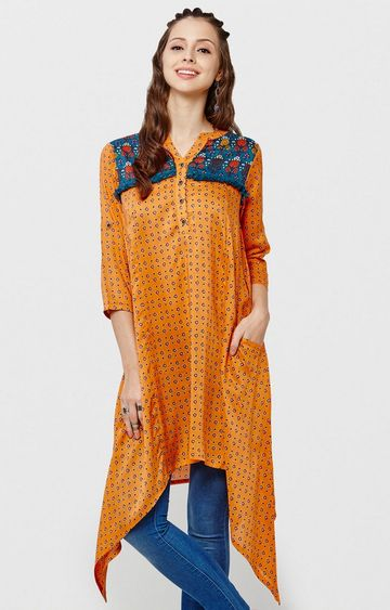 Global Desi | Yellow Asymmetric Kurti