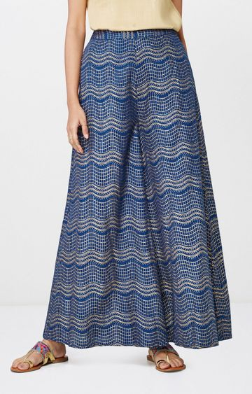 Global Desi | Ink Blue Printed Palazzos