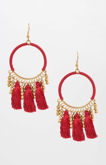 Global Desi | Gold and Red Dangle and Drop Earrings