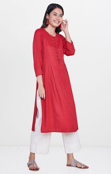 Global Desi | Red Printed Regular Kurta