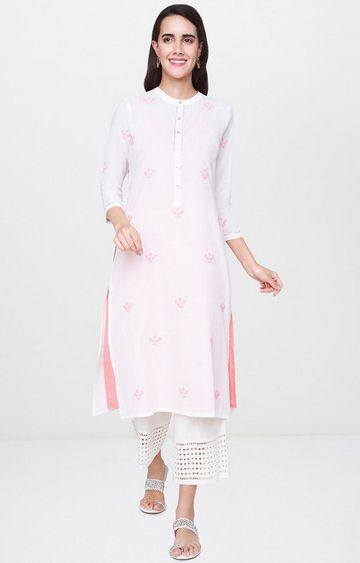 Global Desi | White Printed Kurta