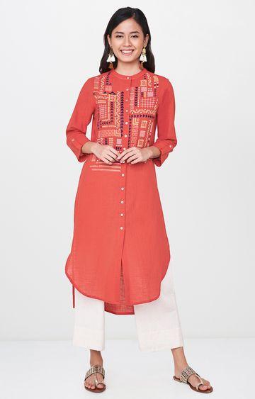 Global Desi | Red Printed Asymmetric Kurta