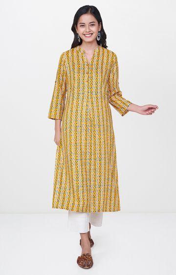 Global Desi   Yellow Printed Regular Kurta