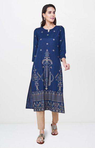 Global Desi | Blue Printed Regular Kurta