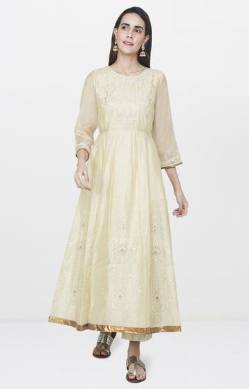 Global Desi | Beige Printed Anarkali