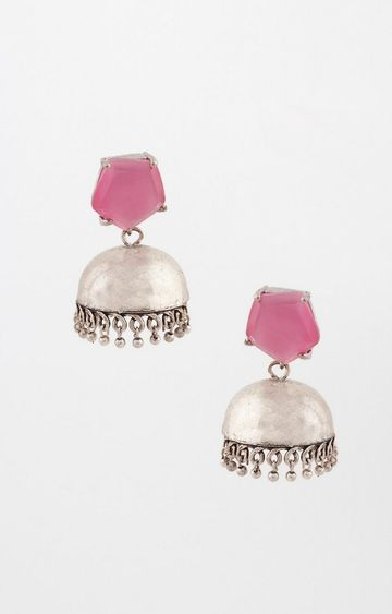 Global Desi | Pink and Silver Jhumkis