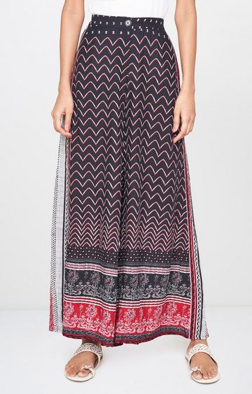 Global Desi | Black Printed Palazzos