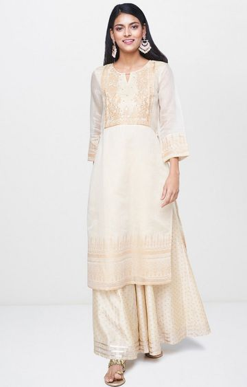 Global Desi | Beige Printed Palazzo and Kurta