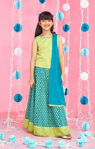 Global Desi | Turquoise Printed Lehenga Set