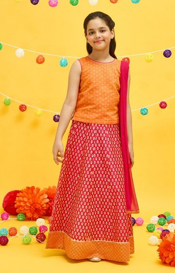 Global Desi | Red Printed Lehenga Set