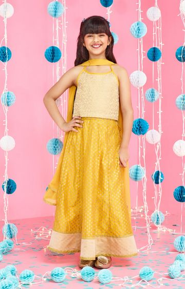 Global Desi | Yellow Printed Lehenga Set