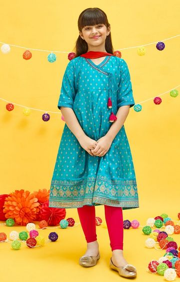 Global Desi | Teal Printed Kurta Set