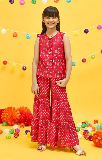 Global Desi | Red Printed Gharara and Choli Set