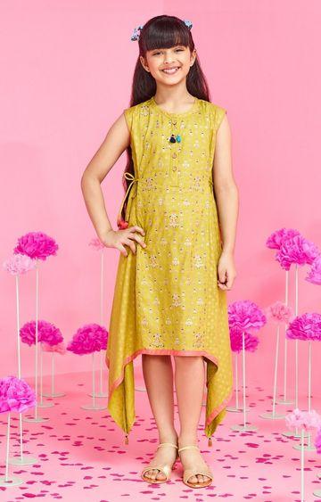 Global Desi | Sage Green Printed Dress