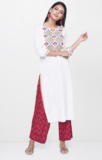 Global Desi | White and Red Printed Palazzo and Kurta