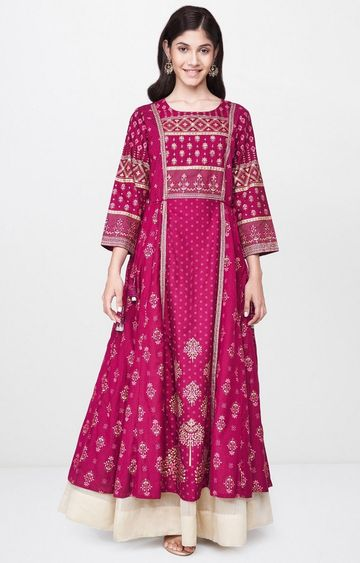 Global Desi | Wine Printed Anarkali