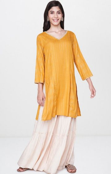 Global Desi | Mustard Printed Palazzo and Kurta