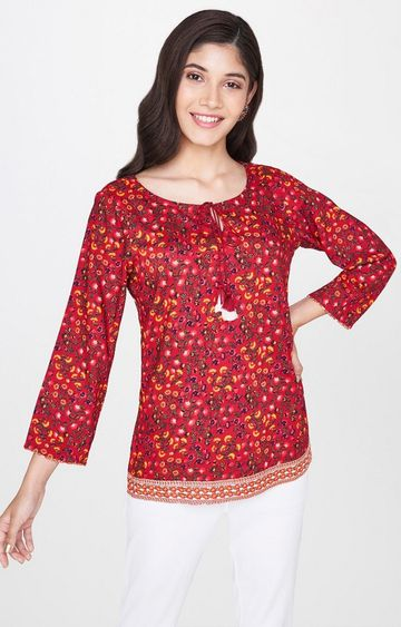 Global Desi | Maroon Printed Top