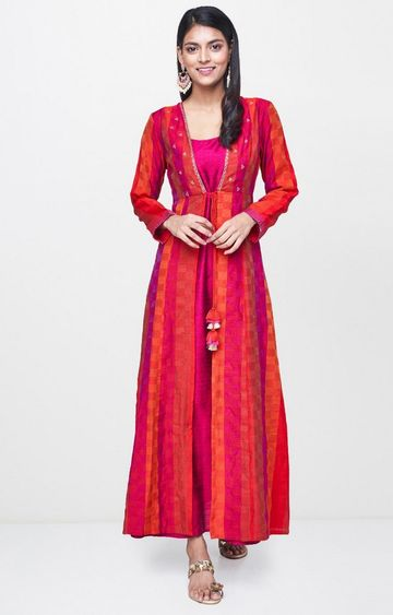 Global Desi | Red Printed Maxi Dress