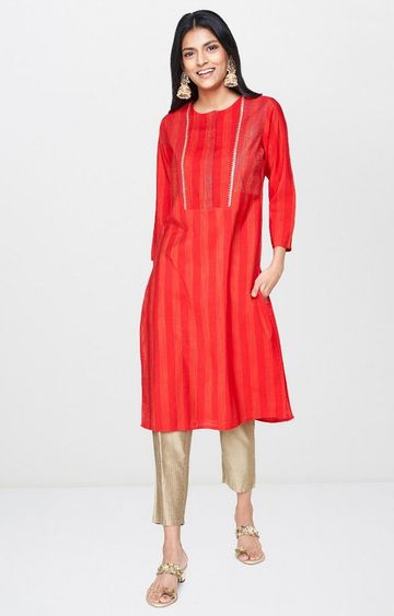 Global Desi | Red Striped Kurta