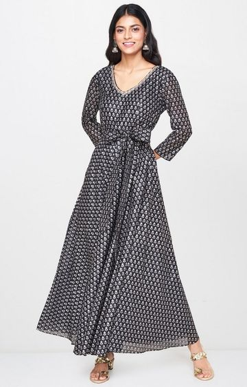 Global Desi | Black Printed Maxi Dress