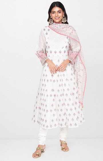 Global Desi | White Printed Suit Set