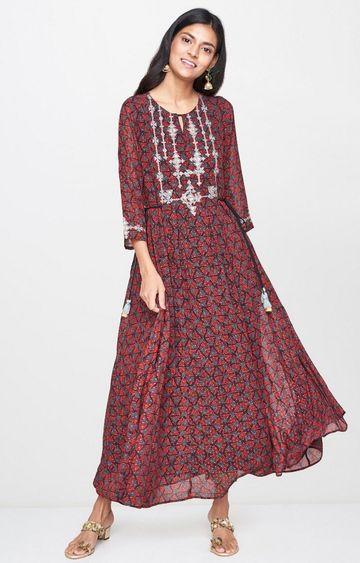 Global Desi | Maroon Printed Maxi Dress