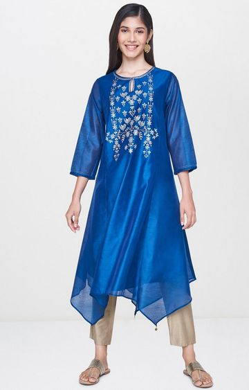 Global Desi | Blue Printed Asymmetric Kurta