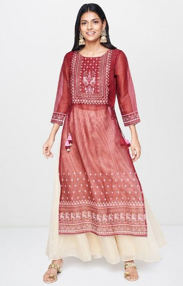 Global Desi | Maroon Printed Palazzo and Kurta