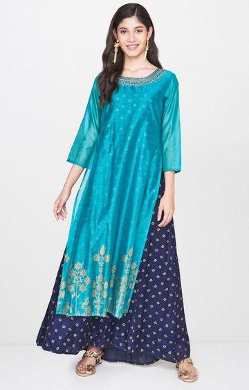 Global Desi | Turquoise Printed Maxi Dress