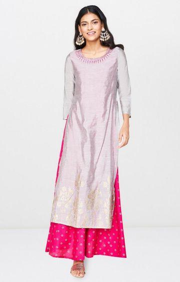 Global Desi | Grey Printed Maxi Dress