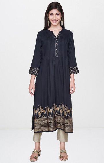 Global Desi | Black Printed Kurta