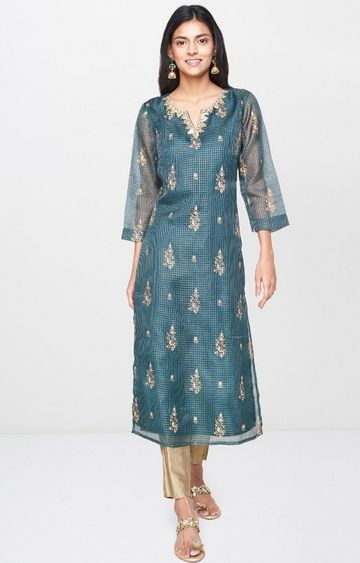 Global Desi | Dark Green Printed Kurta