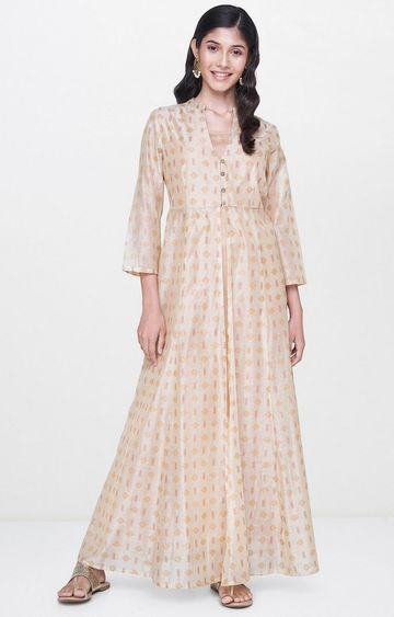 Global Desi | Beige Printed Maxi Dress