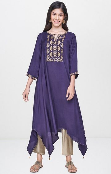 Global Desi | Purple Printed Asymmetric Kurta