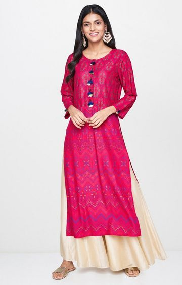 Global Desi | Pink Printed Kurta