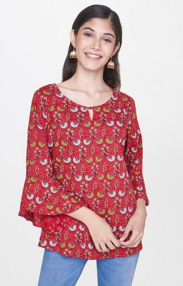 Global Desi | Red Printed Top
