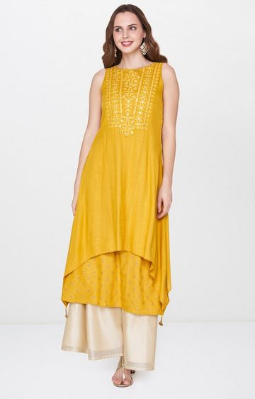 Global Desi | Mustard Printed Kurta