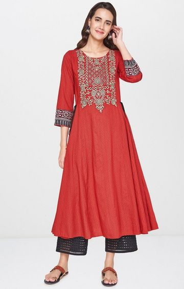 Global Desi | Red Printed Anarkali