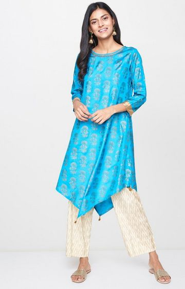 Global Desi | Turquoise Printed Asymmetric Kurta