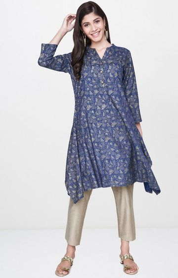 Global Desi | Indigo Printed Asymmetric Kurti