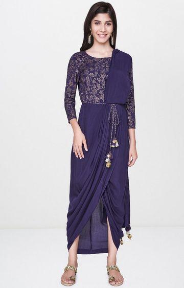 Global Desi   Purple Printed Saree Gown