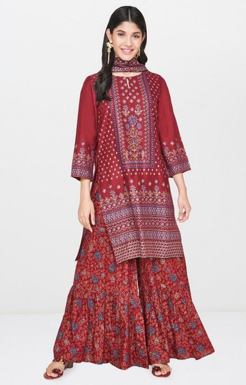 Global Desi | Maroon Printed Suit Set