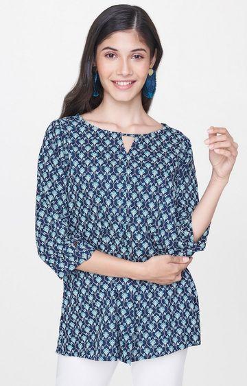 Global Desi | Blue Printed Tunic