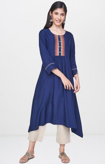 Global Desi | Indigo Printed Asymmetric Kurta