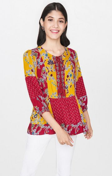 Global Desi | Red and Yellow Printed Top