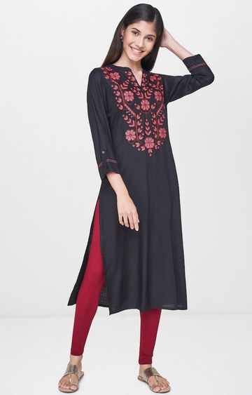 Global Desi | Black Printed Kurta
