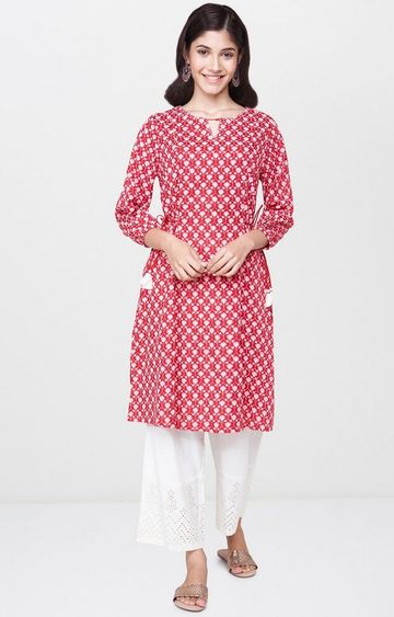 Global Desi | Red Printed Regular Kurti