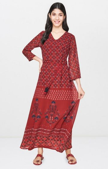 Global Desi | Rust Printed Maxi Dress